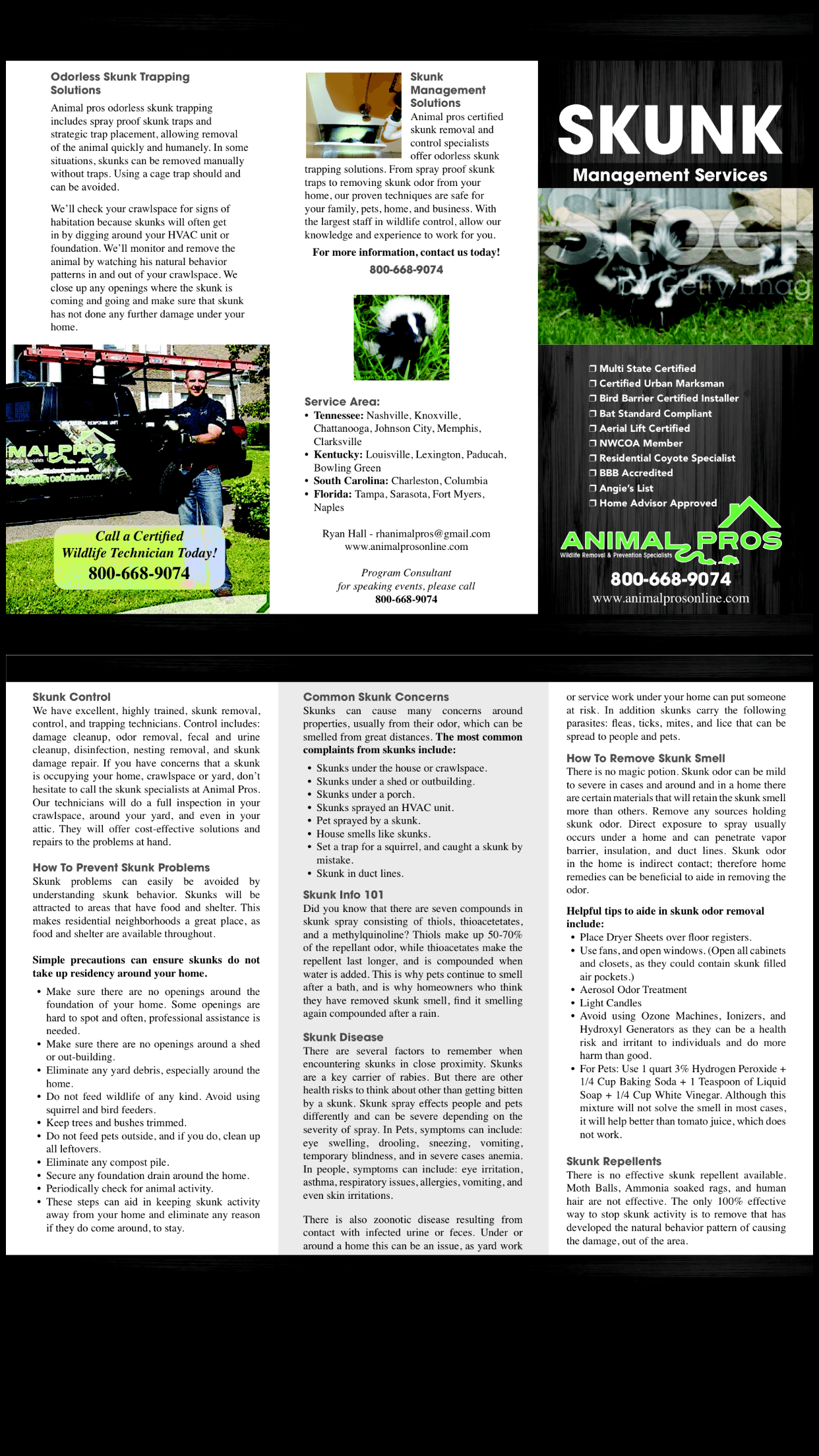 Animal Pros Nashville Skunk Brochure
